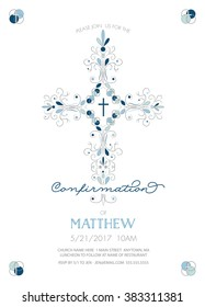 Boys Confirmation Invitation Template with Fancy Cross