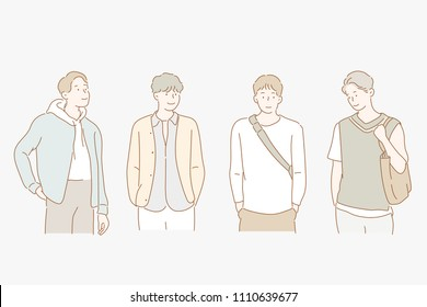 boy's diverse fashion styles. hand drawn style vector doodle design illustrations.