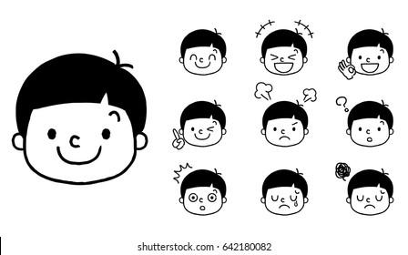 Boy's expression: set, variation