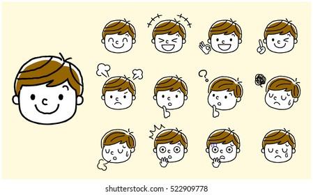 Boys: face, facial expression, set