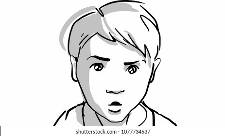 Boy's facial expression of anxiety. Head of kid. Portrait of child. Black and white vector sketch. Simple drawing isolated at white.