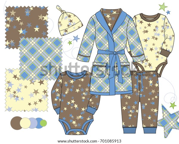 Boys Fashion Illustration Repeat Patterns Three Stock Vector Royalty Free 701085913