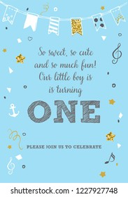 Boy's First Birthday One Year Party Printable Invitation Card