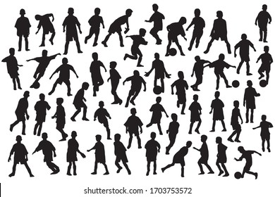 Boys football dynamics pose silhouettes set. Sport clip art on white background