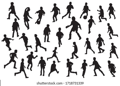 Boys football dynamics pose silhouettes set. Sport clip art white isolated