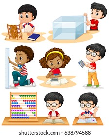 Boys and girl doing math problems illustration