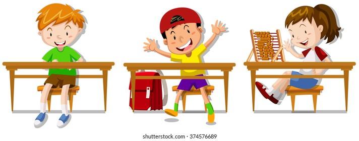 Boys and girl sitting on their desks illustration