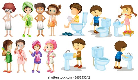Boys and girls in bathrobe illustration