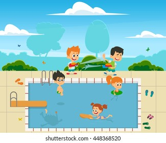 boys and girls having fun, swim, play in the open air in the pool. vector. child jumping in the pool with springboard.
