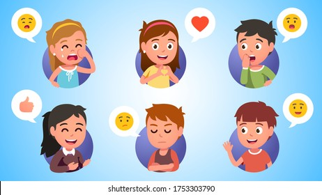 Boys and girls kids gesturing, expressing emotions. Happy, sad & surprised children crying, showing gestures, covering mouth, waving hand. Person facial expressions emoticons set. Flat vector illustration