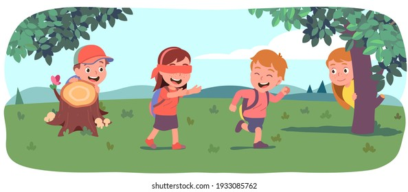 Boys, girls kids playing hide and seek on beautiful summer lawn. Blindfolded girl seeking friends hiding behind bushes, trees. Happy children enjoying outdoor game activity. Flat vector illustration