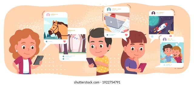 Jungen, Mädchen, die Handys benutzen, die surfen, posten, kommentieren in sozialen Netzwerken. Kinder kommunizieren online über Smartphones. Internetkommunikationskonzept, flache Vektorgrafik