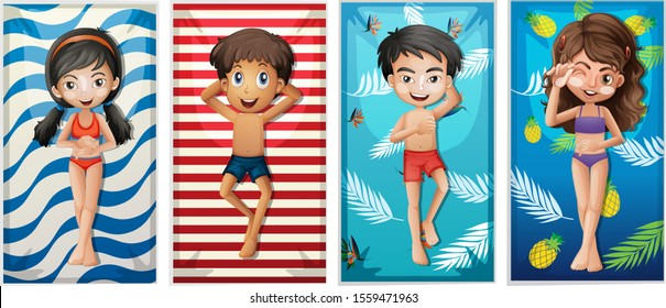 Boys and girls on beach towels illustration
