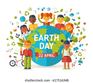 Boys and girls with planet. Ecology and environmental protection icons. Earth day cute concept poster, go green. Vector illustration.