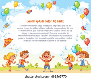 Boys and girls are playing in the Amusement park. Playground. Template for advertising brochure. Ready for your message. Children look up with interest. Funny cartoon character. Vector illustration