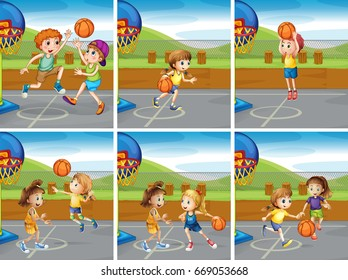 Boys and girls playing basketball illustration