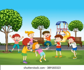 Boys and girls playing in the park illustration