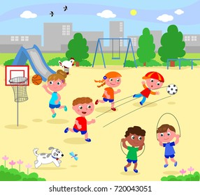 Boys and girls playing sports at the playground, cartoon vector illustration