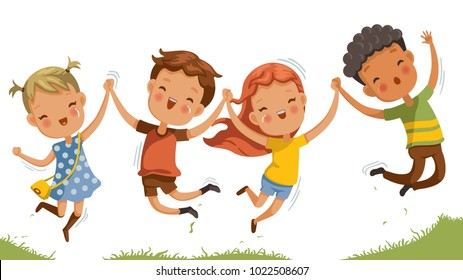 Boys and girls are playing together happily. Kids Play at the grass. Children Holding hands and jumping , Running a meadow. The concept is fun and vibrant moments of childhood. Vector illustrations.