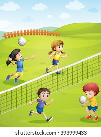 Boys and girls playing volleyball in the park illustration