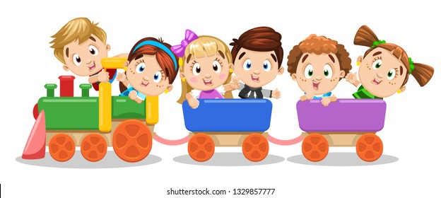 Boys and girls ride on carnival train, laughing, waving hand. Children have fun at amusement park, playground, kid`s zone. Concept of happy, careless childhood. Cartoon illustration isolated on white.
