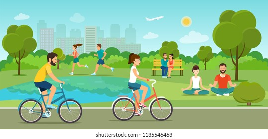Boys and girls riding a bicycle, sitting on the bench, running and making meditation in the park. Vector flat style illustration