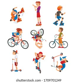 Boys and Girls Riding Kick Scooter Set, Bicycle, Rollerblades, Eco Transport for Children, Summer Outdoor Activities Cartoon Vector Illustration