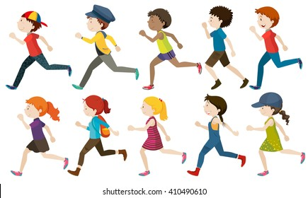 Boys and girls running illustration