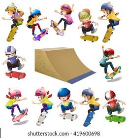 Boys and girls skateboarding on the ramp illustration