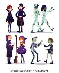 Boys and girls in style of different Halloween characters. Young couples in costumes of vampires, mummies, wizards, zombies. Vector illustration in cartoon style on white background. Set. Party.