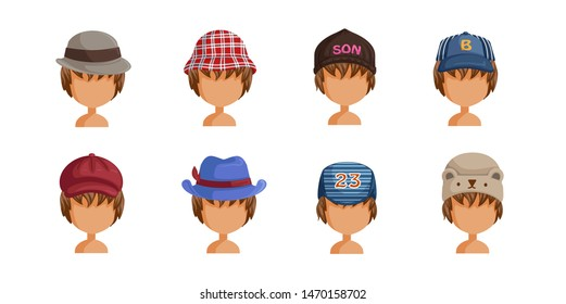 Boy's hat set. Collection of boy's faces.  Userpics of hair style different kids. Variety and different types of fashion. Vector illustration.