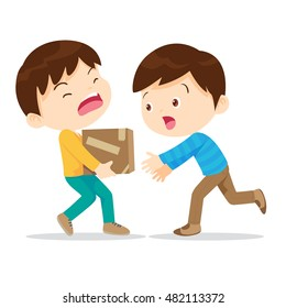 Boys help lifting heavy.Young have kindness.The boy needs help.young help his partner to carry heavy stack of box.Carrying a heavy load.