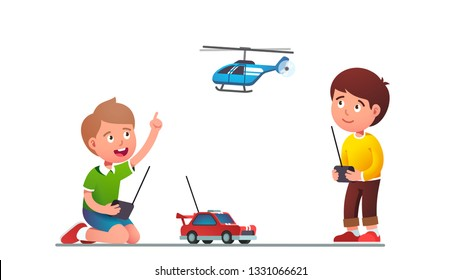 Boys kids playing with radio-controlled toy car & helicopter. Kids playing together holding rc controllers. Smiling excited children cartoon characters with modern RC toys. Flat vector illustration