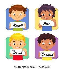 Boys Name 1 Boys holding their name tag.