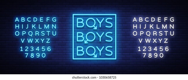 Boys neon sign. LGBT. Gay show Night sign for gay club. Adult show. Vector illustration. Editing text neon sign
