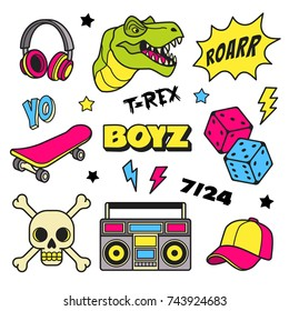Boys patches collection. Vector illustration of colorful badges and symbols for boys, such as T Rex, headphones, dice, skateboard, cap and boom box. Isolated on white.