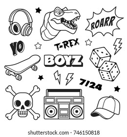 Boys patches collection. Vector illustration of outline boys icons, such as T Rex, headphones, dice, skateboard, cap and boom box. Isolated on white.