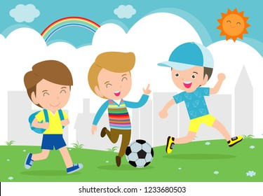 Boys play football. Children playing soccer in the park Vector illustration
