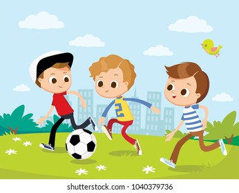 Boys play football. Vector illustration with kids and summer landscape.