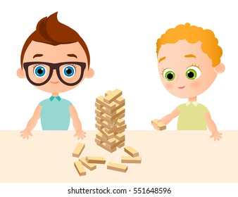 Boys play in wood game - jenga. Boy with glasses. Vector illustration eps 10. Flat cartoon style.