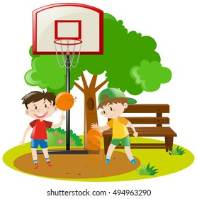 Boys playing basketball in the park illustration