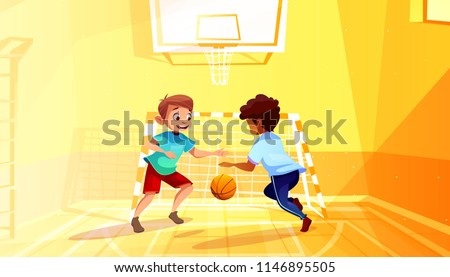 4e1130b07345 Boys playing basketball vector illustration of black Afro American kid with  ball in school gymnasium.