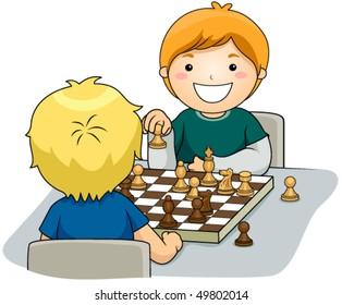 Boys playing Chess - Vector
