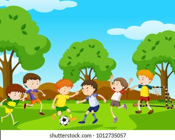 Boys playing football in the park illustration