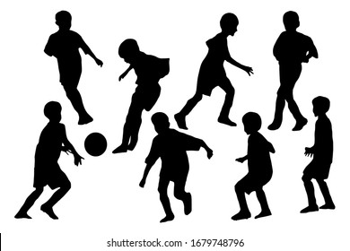 Boys playing football. Sport group silhouettes set on white background