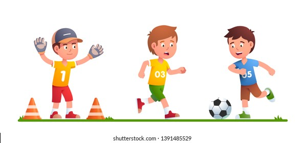 Boys playing soccer game together. Blue team attacking, orange is in defense. Kid swinging leg to kick ball to hit improvised goal guarding by goalkeeper. Flat vector children character illustration