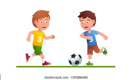 Zwei Kinder Fussball Bewegung Stockillustrationen Bilder Und