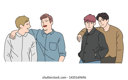 The boys are posing affectionately with their arms on their shoulders. close friend. hand drawn style vector design illustrations.