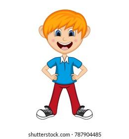 Boys put his hands on his hips Cartoon vector