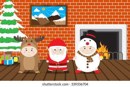 Boys in Reindeer, Santa Claus, Snowman costume in Christmas decorating house. Vector Cartoon for Christmas and New Year Card